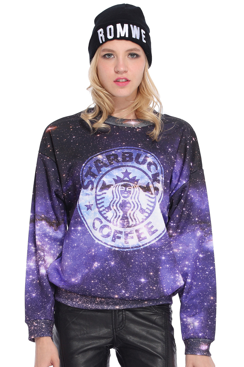 ROMWE | Starbuck Coffee in Galaxy Print Sweatshirt, The Latest Street Fashion