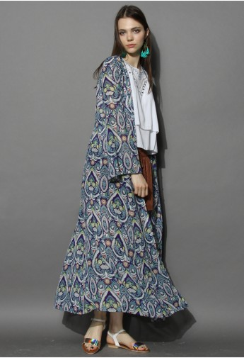 Bell Sleeves Printed Maxi Cardigan - Retro, Indie and Unique Fashion