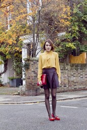 la petite anglaise,blogger,blouse,red bag,black skirt,preppy,skirt,shoes,bag,smoking slippers
