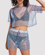romper,girly,girl,girly wishlist,two-piece,matching set,matching shorts and top,crop tops,cropped,crop,shorts,see through,iridescent
