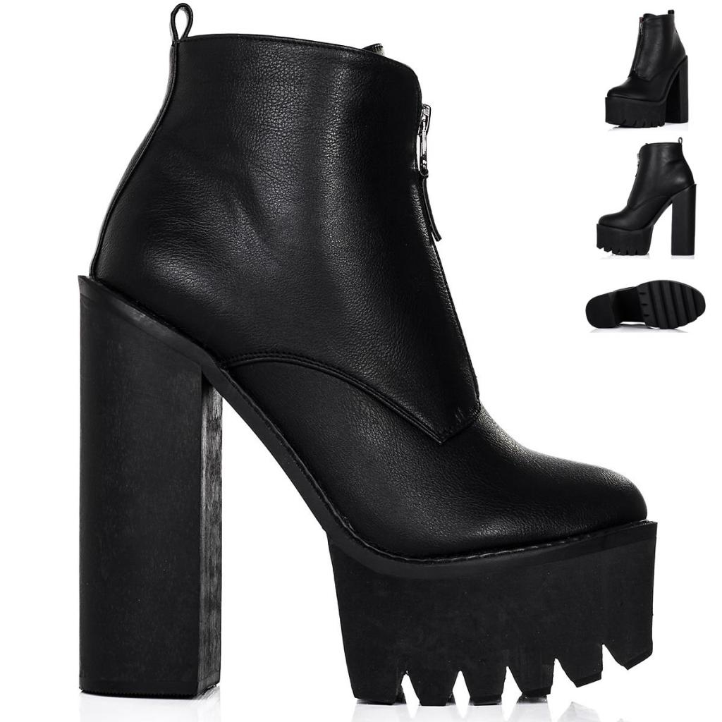 WOMENS BLOCK CHUNKY HEEL CLEATED SOLE ZIP PLATFORM ANKLE BOOTS ...