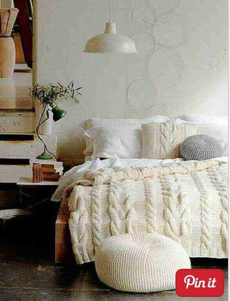 sweater blanket boho knitted beige cream vintage cable-knit blanket cable knit