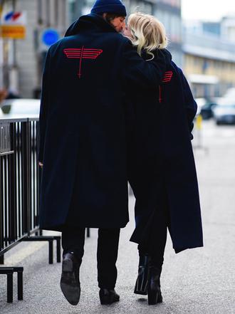coat tumblr fashion week 2017 streetstyle navy navy coat blue coat long coat blue long coat beanie black beanie pants black pants menswear mens coat mens pants mens shoes boots black boots boyfriend