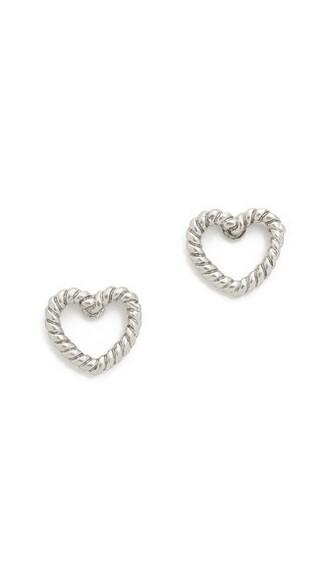 heart earrings stud earrings silver jewels