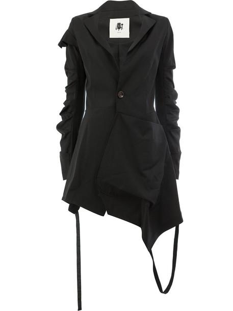 blazer women spandex fit cotton black jacket