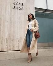 coat,beige coat,long coat,wool coat,jeans,ripped jeans,knee high boots,high heels boots,turtleneck,shoulder bag