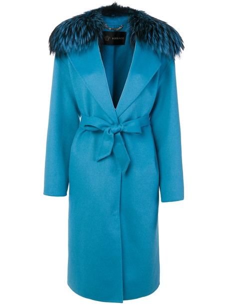 coat fur fox women blue silk wool
