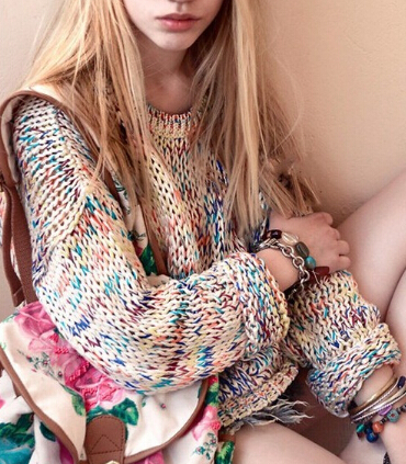 Popular clothing — rainbow loose knit sweater
