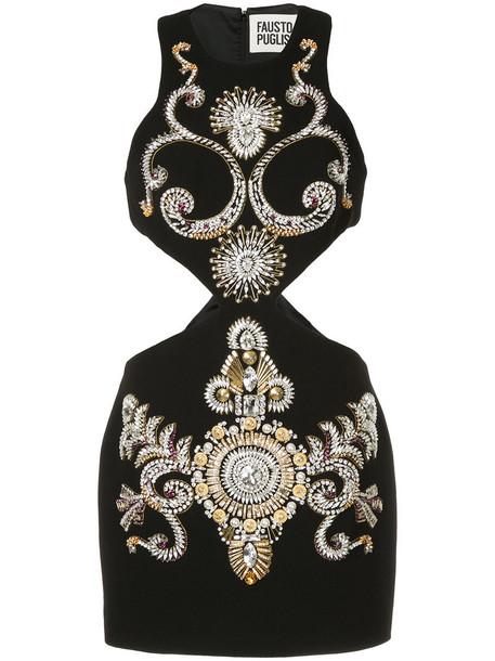 FAUSTO PUGLISI dress mini dress mini cut-out women black silk wool