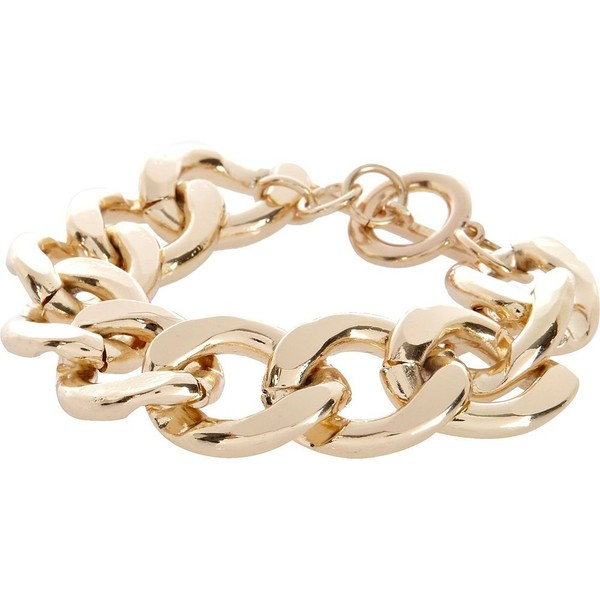 River Island Gold tone chunky curb chain bracelet - Polyvore