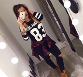 sweater,top,jeans,blouse,shoes,boots,timberlands boots,timberland boots shoes,shirt,flannel shirt,players shirt,black,white,outfit,tights,losangeles