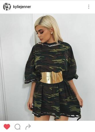 belt kylie jenner gold gold belt instagram kimkardashian #