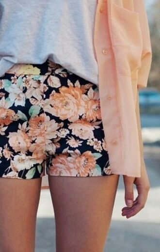 shorts floral vintage perfect coral spring summer cardigan pattern navy t-shirt pastel shirt roses high waisted shorts