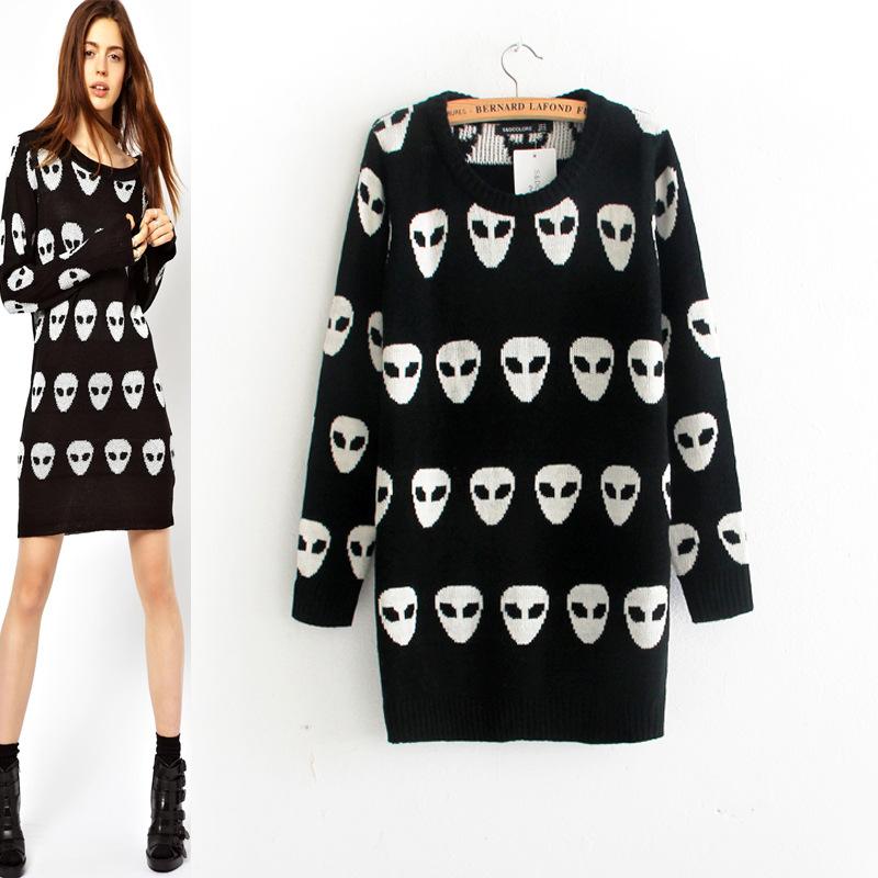 nueva mujer europeos y americanos largo cuello redondo de manga larga estampada sección jerséis 6865 suéter en de en Aliexpress.com