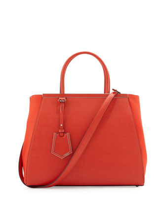 Fendi 2Jours Vitello Elite Medium Tote Bag, Red Orange  - Neiman Marcus