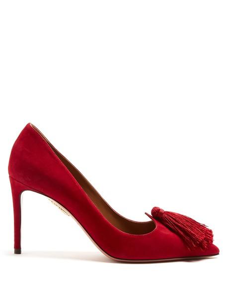 Aquazzura suede pumps tassel love pumps suede red shoes