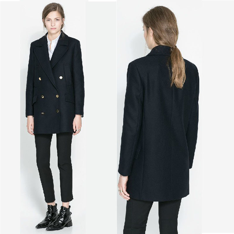 2013 new winter long section of high quality double six simple buckle long sleeved woolen jacket  Wool & Blends-in Wool & Blends from Apparel & Accessories on Aliexpress.com