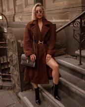 coat,oversized coat,teddy bear coat,long coat,ankle boots,black boots,shoulder bag,sunglasses,earrings,belt