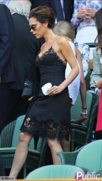 dress classy little black dress sexy lace dress victoria beckham