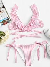 swimwear,girly,girly wishlist,pink,white,stripes,bikini,bikini top,bikini bottoms,two-piece,matching set