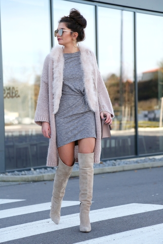 dress tumblr grey dress mini dress boots nude boots over the knee boots thigh high boots high heels boots sunglasses cardigan pink cardigan long cardigan