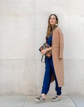 coat,camel coat,tumblr,camel,jumpsuit,blue jumpsuit,shoes,mules,fall outfits,earrings