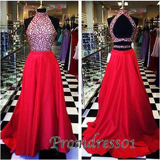 dress red prom dress red prom dresses sequin dress sequins high neckline