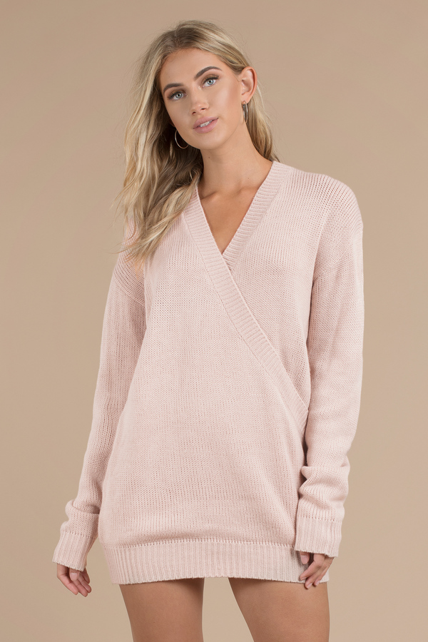 Winter Romance Blush Oversized Sweater Dress