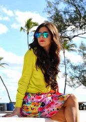 skirt,floral skirt,floral,neon,neon green,sweater,winter outfits,sunglasses,curly hair,red lipstick,bold color,spring,spring outfits,summer outfits,classy,preppy,j crew,vera wang,steve madden,lovable,everyday wear