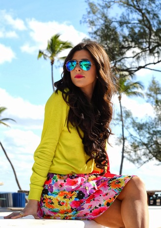 skirt floral skirt floral neon neon green sweater winter outfits sunglasses curly hair red lipstick bold color spring spring outfits summer outfits classy preppy j crew vera wang steve madden lovable everyday wear