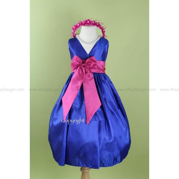 flower girl dress blue royal v dress