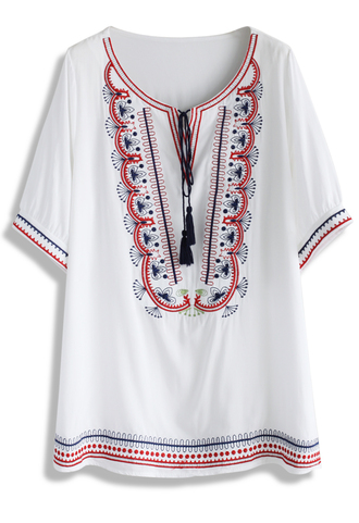 top chicwish cheerful embroidery boho tunic boho top summer top tunic summer tunic retro style white top floral top chicwish.com