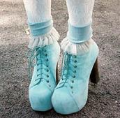 shoes,pastel,cute,blue,pumps,turquoise,platform shoes,platform lace up boots,beautiful high heels,blue high heels,cute high heels,pastel blue,heels