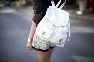 bag backpack leather backpack leather white leather ruck sack white leather jacket jacket black shorts romper watch gold white backpack jewels