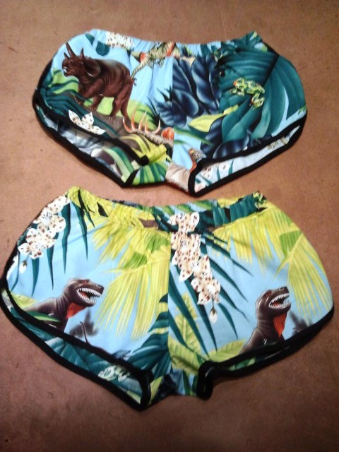 Dinosaur Hawaiian Shorts spring summer dinosaurs by rojasclothing
