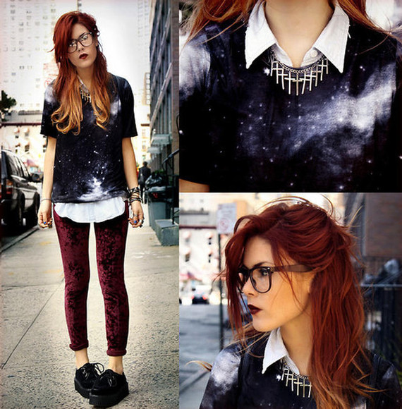 pants legging shirt galaxy awesome amazing must have cool dip dye perfection fab fabulous t-shirt love it lua p necklace crosses cross blouse glasses stylish fashion jewels