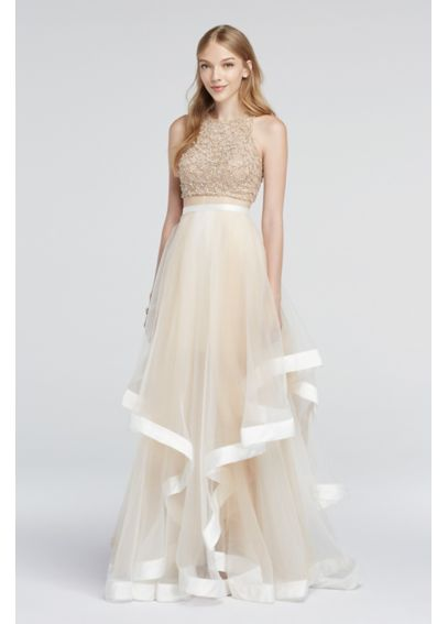 Two Piece Beaded Prom Crop Top And Illusion Skirt Davids Bridal