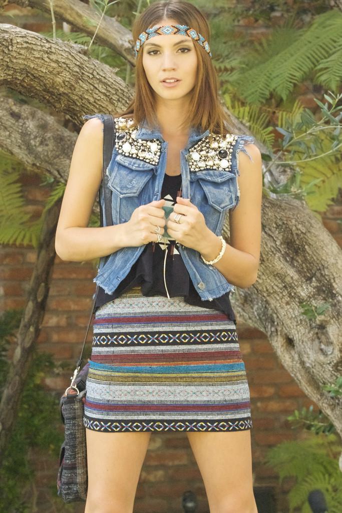 Aztec Printed Canvas Skirt | Obsezz