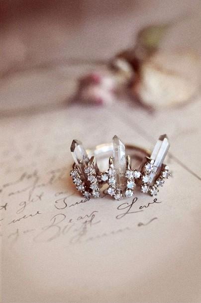 Jewels Ring Crystal Crown Ring Engagement Ring Wedding Ring