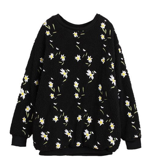 Black Fluffy Daisy Embroidered Sweatshirt
