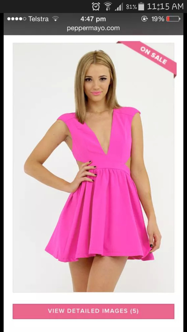 dress pink pink dress lowcut