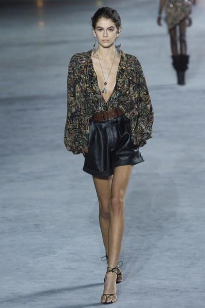 blouse shirt kaia gerber Paris Fashion Week 2017 runway model saint laurent plunge v neck