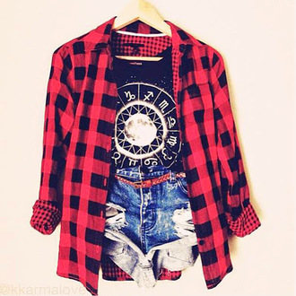 shirt graphic tee zodiac signs zodiac plaid shirt black and red little black boots red black and red plaid shirt brown brown belt shorts denim shorts blue denim shorts high waisted shorts high waisted denim shorts medium wash belt