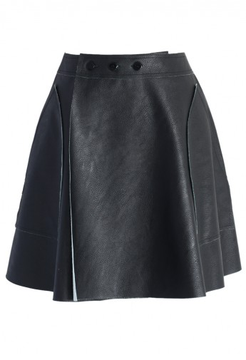 Faux Leather Flap Skirt in Black - Retro, Indie and Unique Fashion