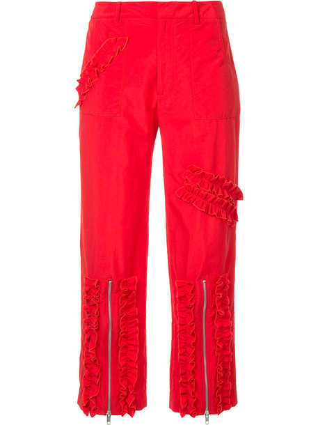 MOLLY GODDARD cropped women red pants
