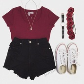 shirt,whole outfit,shorts,hair accessory,top,denim shorts,black,summer,outfit