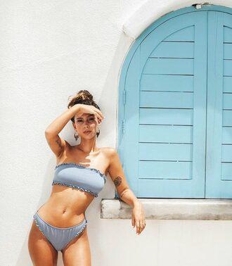 swimwear motel bandeau bikini grey bikini top bikini bottoms strapless ruched bikini summer summer outfits summer holidays