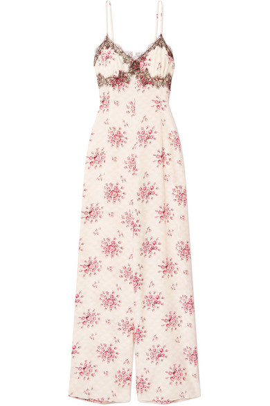 Morgan Lane - Bambi lace-trimmed printed silk-charmeuse jumpsuit