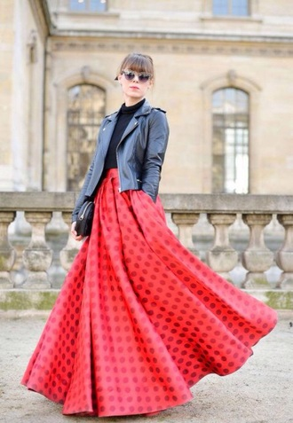 skirt maxi red fashion week fashion week 2015 paris fashion week maxi skirt polka dots