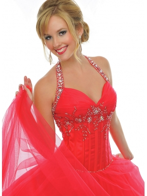Buy Vintage Red Ball Gown Halter Sequins Floor Length Tulle Prom Dress  under 200-SinoAnt.com